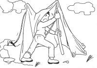 Karikatur eines Mannes, welcher unter einem nicht gespannten Zelt versucht, eine Zeltstange anzubringen.