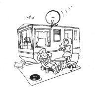 Karikatur eines Paares mit Hund vor ihrem Wohnwagen. Sie  serviert soeben Heissgetränke.